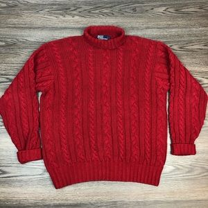 Polo by Ralph Lauren Sweaters - Polo Ralph Lauren Red Cable Knit Turtleneck L
